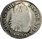 COLOMBIA. 1799-JJ 1/2 Real. Santa Fe de Nuevo Reino (Bogotá) mint. Carlos IV (1788-1808). Restrepo 7