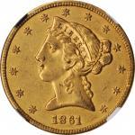 1861 Liberty Head Half Eagle. AU-53 (NGC).