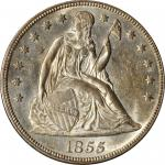 1855 Liberty Seated Silver Dollar. OC-1. Rarity-3+. MS-62 (PCGS).