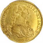 MEXICO. 8 Escudos, 1806-Mo TH. Mexico City Mint. Charles IIII (IV). NGC MS-61.