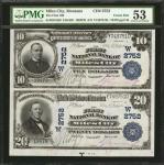 Uncut Pair Miles City, Montana. $10-$20 1902 Plain Back. Fr. 624/650. The First NB. Charter #2752. P
