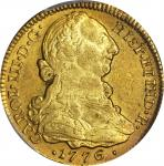COLOMBIA. 4 Escudos, 1776-P SF. Popayan Mint. Charles III (1759-88). PCGS AU-53 Gold Shield.