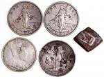 South East Asia, group of 4 silver chopmarked coins, Great Britain 1899 Trade Dollar, Philippines 19