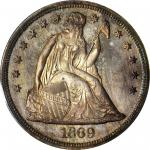 1869 Liberty Seated Silver Dollar. Proof-66+ Cameo (PCGS).