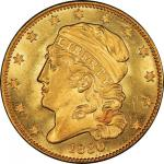 1830 Capped Head Left Half Eagle. Bass Dannreuther-1. Rarity-6. Large 5D. Mint State-66 (PCGS).