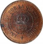 PHILIPPINES. Copper 2 Centavos Pattern, 1859. Isabel II. ANACS MS-64 Red Brown.