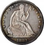 1881 Liberty Seated Half Dollar. WB-101. Type I Reverse. Proof-61 Cameo (NGC).