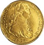 MEXICO. 8 Escudos, 1796/5-MoFM. Charles IV (1788-1808). NGC MS-62.