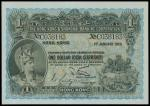 The HongKong and Shanghai Banking Corporation, $1, 1.1925, serial number C038183, blue and multicolo