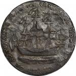 1778-1779 (ca. 1780) Rhode Island Ship Medal. Betts-562, W-1735. Without Wreath Below Ship. Pewter.