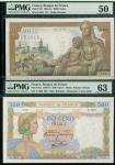Banque de France, 500, 1000 francs, 1940-1941), serial numbers Q.2341 117, (Pick 95a, 102), in PMG h