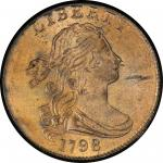 1798 Draped Bust Cent. Sheldon-179. Rarity-3. Style II Hair. Mint State-65+ BN (PCGS).