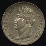 FRANCE Charles X シャルル10世(1824~30) 5Francs 1827W 小さいアタリ -EF