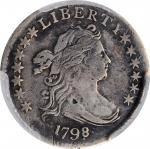 1798/7 Draped Bust Dime. JR-1. Rarity-3. 16 Stars on Reverse. VF Details--Repaired (PCGS).