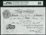 Bank of England, K.O. Peppiatt, £5, Bristol 21 May 1936, prefix T217, black and white, ornate crowne