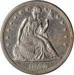 1854 Liberty Seated Silver Dollar. OC-1. Rarity-3+. Repunched Date. AU Details--Cleaned (PCGS).