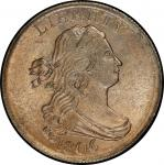 1806 Draped Bust Half Cent. Cohen-1, Breen-3. Rarity-1. Small 6, No Stems. Mint State-65+ BN (PCGS).