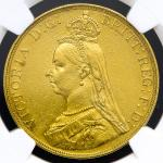 "GREAT BRITAIN Victoria ヴィクトリア(1837~1901) 5Pounds 1887 NGC-AU Details""Damaged"" 縁に小キズ,やや磨き -EF"