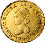 COLOMBIA. Escudo, 1824-POPAYAN FM. Popayan Mint. NGC EF Details--Scratches.