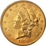 1853 Liberty Head Double Eagle. Breen-7160. Repunched Date. AU-58 (PCGS). CAC.