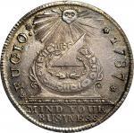 """""""1787"""" Fugio copper. """"New Haven Restrike."""" Newman 104-FF, W-17570. Silver. MS-62 (PCGS)."""