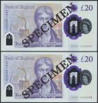 Bank of England, Sarah John, polymer £20, ND (20 February 2020), serial number AA01 000037/38, purpl