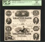 Grafton, Massachusetts. Grafton Bank. Aug. 1, 1854. $2, $20. PCGS Choice New 63 Apparent. Hole Punch