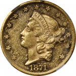 1871 Liberty Head Double Eagle. AU-58+ PL (NGC).