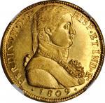 CHILE. 8 Escudos, 1809-So FJ. Santiago Mint. Ferdinand VII. NGC MS-62.