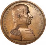 1818 Major General William H. Harrison Medal. Bronzed Copper. 64.6 mm. Julian MI-14. Mint State, Lig
