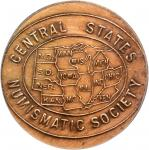 1953 Central States Numismatic Society Award Medal. Bronze. 31 mm. Awarded to R.S. Yeoman. AU-55 (IG
