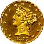 1875 Liberty Head Half Eagle. JD-1. Rarity-7-. Proof-65 Cameo (PCGS). CAC.