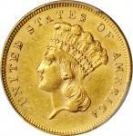 1862 Three-Dollar Gold Piece. AU-58 (PCGS).