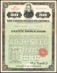United States of America. Act of September 24, 1917, as Amended. $50 3% Adjusted Service Bond of 194