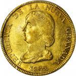 COLOMBIA.1839-RS 16 Pesos. Bogotá mint. Restrepo M211.4. AU-58+ (PCGS).
