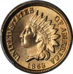 1863 Indian Cent. MS-66+ (PCGS). CAC.