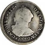 COLOMBIA. 1772-JS Real. Popayán mint. Carlos III (1759-1788). Restrepo 40.4. VG Detail — Repaired (P