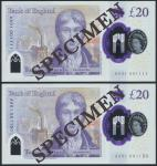 Bank of England, Sarah John, polymer £20, ND (20 February 2020), serial number AA01 001111/1150, pur