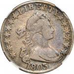 1803 Draped Bust Half Dollar. O-103, T-3. Rarity-3. Large 3, Large Reverse Stars. VF-20 (NGC).