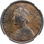 Lot 2630 BRITISH INDIA: Victoria, Queen, 1837-1876, AE frac12 anna, 186240m41, KM-468, SW-4.159, lov