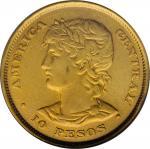 EL SALVADOR. 10 Pesos, 1892-C.A.M. Central American (San Salvador) Mint. NGC EF-45.
