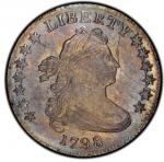 1798 Draped Bust Dime. Large 8. John Reich-4. Rarity-3. Mint State-64 (PCGS). PCGS Population: