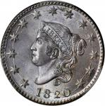 1820 Matron Head Cent. Large Date. MS-64 BN (PCGS). CAC.