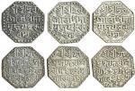 Assam, Śiva Simha (1714-44), octagonal Rupees (3), 11.25, 11.21, 11.13g, no queen, Sk. 1641, 16