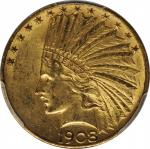 1908-D Indian Eagle. Motto. MS-61 (PCGS).