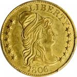 1806 Capped Bust Right Half Eagle. BD-6. Rarity-2. Round-Top 6, Stars 7x6. MS-61 (PCGS). CAC.