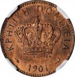 CRETE. 2 Lepta, 1901-A. Paris Mint. NGC MS-65 Red Brown.