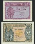El Banco de Espana, Burgos, 1 peseta, 1937, pale blue and lilac, arms at left, also 2 pesetas, Burgo