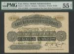 East African Protectorate, 5 rupees, Mombasa, 1 December 1918, red serial number A/5 25001, black an