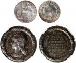 1921A法属印度支那一毫银币,另一枚1885年法国银章,均NGC AU Details至PCGS MS64 (2)